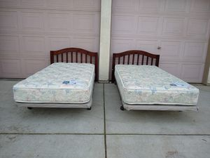 2 Matching Twin Beds (Serta Mattresses, Platform Boxsprings, Metal Bed Frames, Solid Wood Headboards) camas/colchones for Sale in Patterson, CA