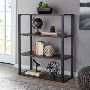"Mainstays 45"" Clarendon 3-Shelf Metal Frame Book Case, Sawcut Brown Description:3 open shelves for easy organization Sawcut brown finish Assembled Di for Sale in Houston, TX"