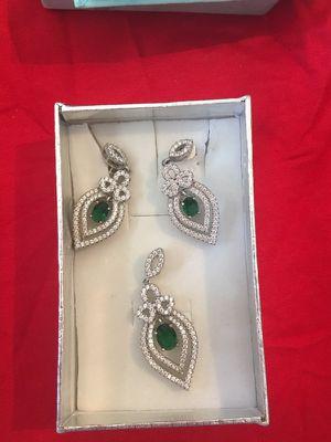 Emerald Green Stone Zircoin Pure Italian Silver Set for Sale in Rockville, MD