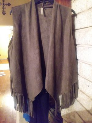 Faux suede vest with fringe for Sale in Vallejo, CA