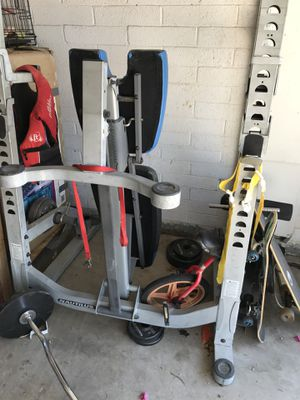 Heavy duty bench. Olympic bar, curl bar. 200 lbs weight for Sale in Mesa, AZ