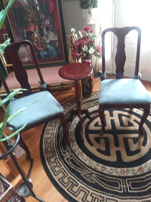 Four blue Antique Chairs with antique. Stan for Sale in Ellenwood, GA
