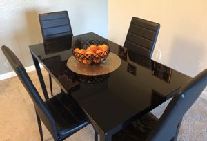 5 Piece Kitchen Table Set with Glass Table Top + 4 Leather Chairs for Sale in Dublin, CA
