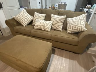 Brown Fabric Couch/Sofa With Ottoman for Sale in Fort Worth,  TX