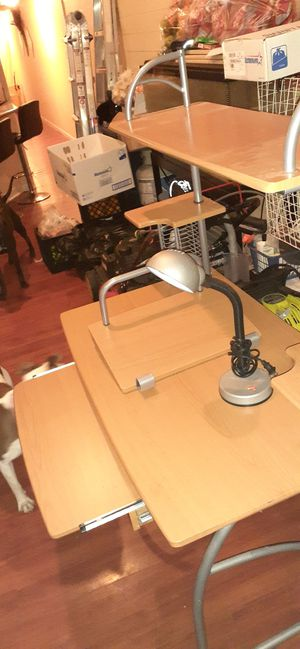 A nice computer desk with a small table attachment and a computer lamp for Sale in New Orleans, LA