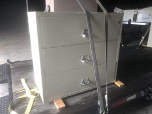 FireKing letteral file cabinet fire rated. 3 drawer for Sale in Sacramento, CA