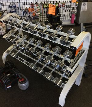 Chrome dumbbell weight set 3-50lbs with commercial grade maxicam three tier dumbbell rack for Sale in Phoenix, AZ