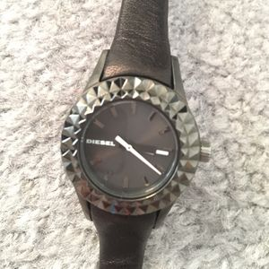 Diesel Studded Black Leather Watch for Sale in East Windsor, NJ