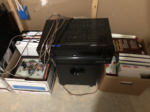 Onkyo receiver subwoofer and 5 speakers for Sale in Clarksburg, MD