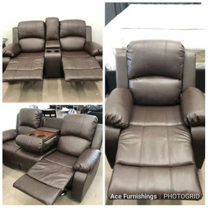 Brand New Brown Leather Reclining 3pc Set With Built In Cup Holders Storage Console & Drop Down Table With Cup Holders for Sale in Puyallup, WA
