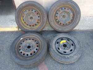 mismatched rims with tires. 5 on 4.5 lugs good rollers - for Sale in Montebello, CA