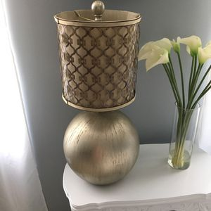 Beautiful tall lamp with metal and fabric made lamp shade for Sale in Lancaster, OH