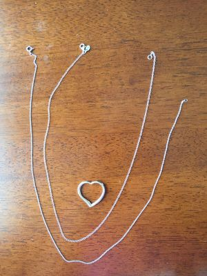Silver necklaces, heart pendant, $10 each for Sale in Fairfax, VA