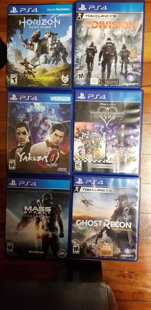 6 PS4 games - $105 for all- includes. Kingdom Hearts 1.5 + 2.5 Remix, Yakuza 0, Horizon Zero Dawn, Mass Effect Andromeda, The Division, Ghost Recon, for Sale in Queens, NY