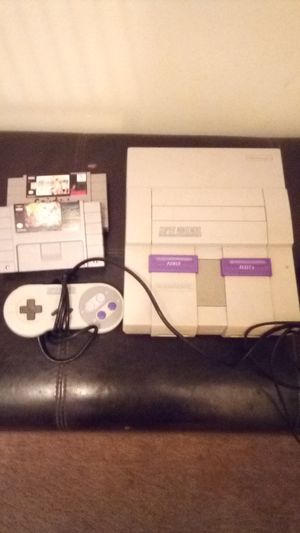 Super Nintendo classic with controller and 2 games for Sale in West Palm Beach, FL
