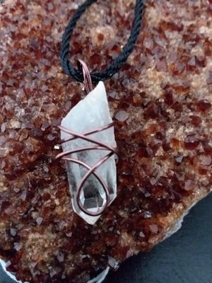 BRAND NEW, Beautiful Real Clear Quartz Point and Copper Necklace. Nickle and Lead Free. The Master Healing Crystal. for Sale in Rancho Cucamonga, CA