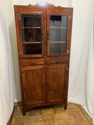 Vintage Antique Solid Cherry Wood 1900's China Cabinet Iron Glass for Sale in Brooklyn, NY