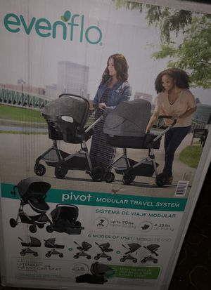 BRAND NEW IN THE BOX SEALED EVENFLO PIVOT TRAVEL SYSTEM SET ( CAR SEAT , STROLLER , BASSINET, INFANT SEAT , CUP HOLDER) for Sale in Los Angeles, CA