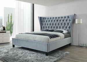 Gabriella Velvet Gray Kiytgng Upholstered Platform Bed for Sale in Beltsville, MD