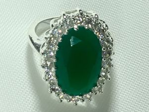 925 sterling silver huge emerald gemstone beautiful classic ring size 6 for Sale in San Diego, CA