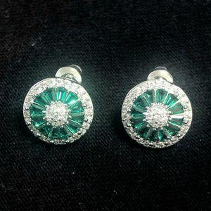 Sterling Silver Green CZ/ Crystal Earrings for Sale in Sloan, NV