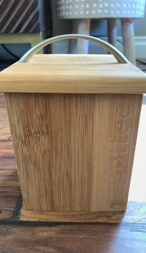 Bamboo coffee container with lid 4.25 x 6 inches for Sale in San Diego, CA