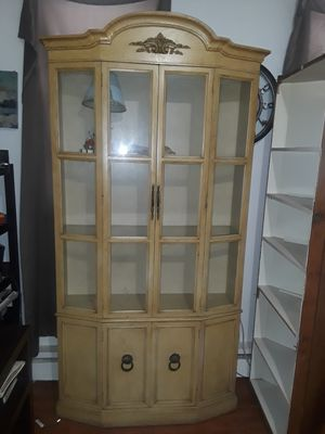 Circa 1950's Antique/Vintage Off White China Cabinet for Sale in Norristown, PA