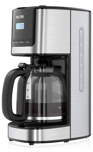MLITER Programmable Drip Coffee Maker with 12 Cup Carafe and Timer for Home and Office, 30s Anti-drip and 2-hour Warming - Black and Silver for Sale in Queens, NY