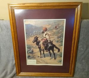 """Frederic Remington """"An Indian Trapper"""" Painting Print in Wood Frame for Sale in Indianapolis, IN"""