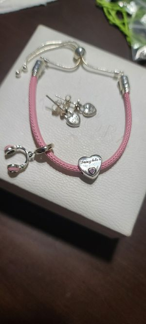 Pandora PINK Leather bracelet w/earrings for Sale in Miami, FL
