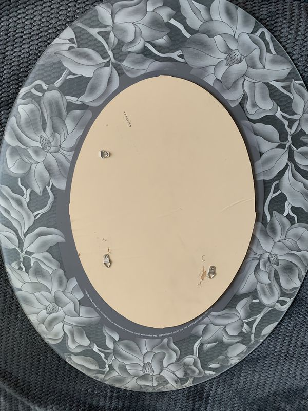 Oval Mirror Frosted Vinyl Flower Decals
