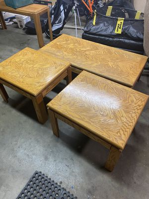 Wooden Oak Coffee Table End Tables and TV Stand for Sale in Wheat Ridge, CO