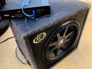 15 inch Kicker Comp VR Dual Voice Coil Sub/ 1100 watt Monoblock Amp/ Kicker custom box for Sale in Sanger, CA