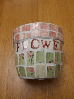 Ceramic floral plant holder & friendship candle for Sale in Cranston, RI