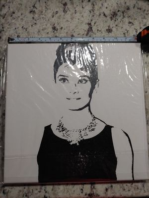 "Audrey Hepburn Black&White Picture on Canvas FRAMED; 12""x12""; New; $20 for Sale in Amarillo, TX"