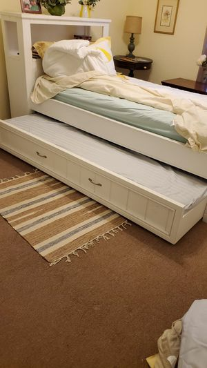 Twin trundle with shelves and extra mattress! for Sale in Tampa, FL