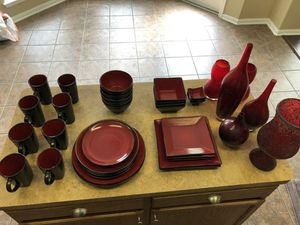 Red kitchen set and decor for Sale in San Antonio, TX