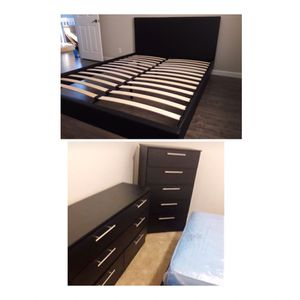 New queen bed frame dresser and chest mattress is not included for Sale in Pompano Beach, FL