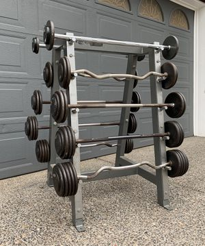Gym Weights Fixed Barbells 20-110lbs (625lbs Total) w/ Rack for Sale in Happy Valley, OR