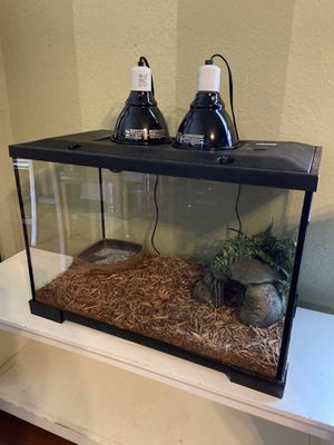 24x17x13 20 gallon snake reptile tank & extra Accessories two lamps for Sale in Grand Prairie, TX