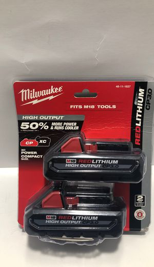 Milwaukee M18 18-Volt Lithium-Ion HIGH OUTPUT CP 3.0Ah Battery (2-Pack) for Sale in Pompano Beach, FL