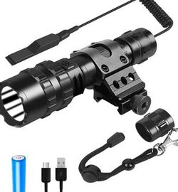 Tactical Flashlight With Rail Mount, Picatinny Flashlight 1200 Lumen LED Weapon Light, 5 Modes Rifle Light-USB Rechargeable Battery and Pressure Switc for Sale in Chino Hills,  CA
