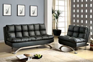 Brand New Black Leather Futon Sofa Bed + Adjustable Chair for Sale in El Monte,  CA