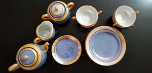 Antique blue and gold china dish set for Sale in Austin, TX