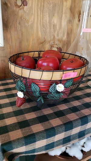 Wire basket full of wooden apples for Sale in Farmville, VA