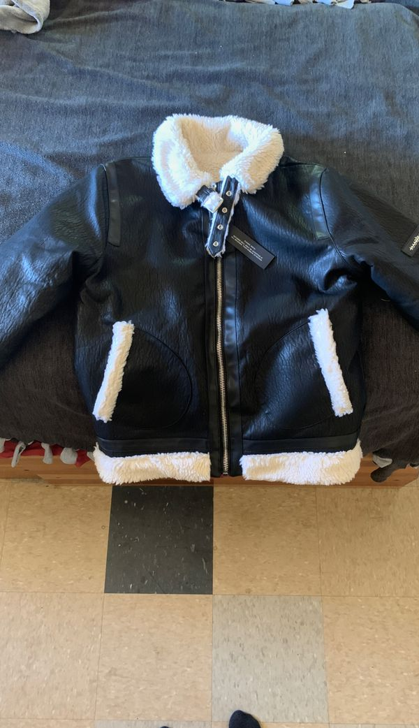 Biker Jacket (Size: M) Faux Grained leather and Faux shearling (Fully Reversible)