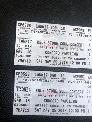 (2) LAWN Stone Soul Concert Tickets (Saturday) for Sale in Livermore, CA