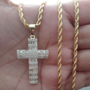 Icedout baguette 925 sterling silver with gold finish cross pendant with stainless steel shiny rope chain for Sale in Los Angeles, CA
