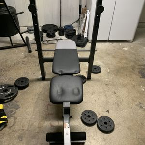 Bench With Barbell, Curl Bar And 235 Lbs Of Weight for Sale in Tempe, AZ