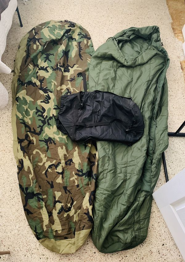 Sleeping bag and waterproof shell (needs small patch)